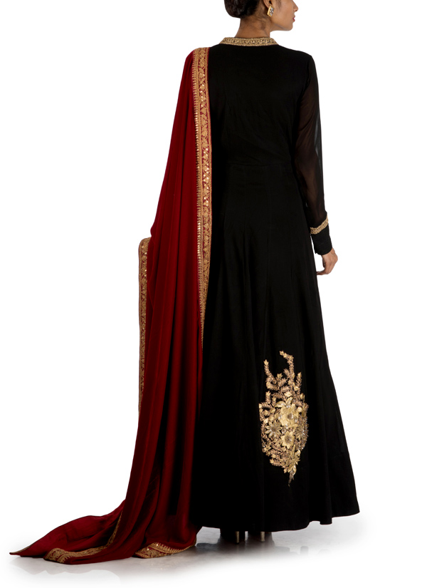 74a8eeff735 ... Indian Fashion Designers - Anju Agarwal - Contemporary Indian Designer  - Jet Black Long Flare Kali ...