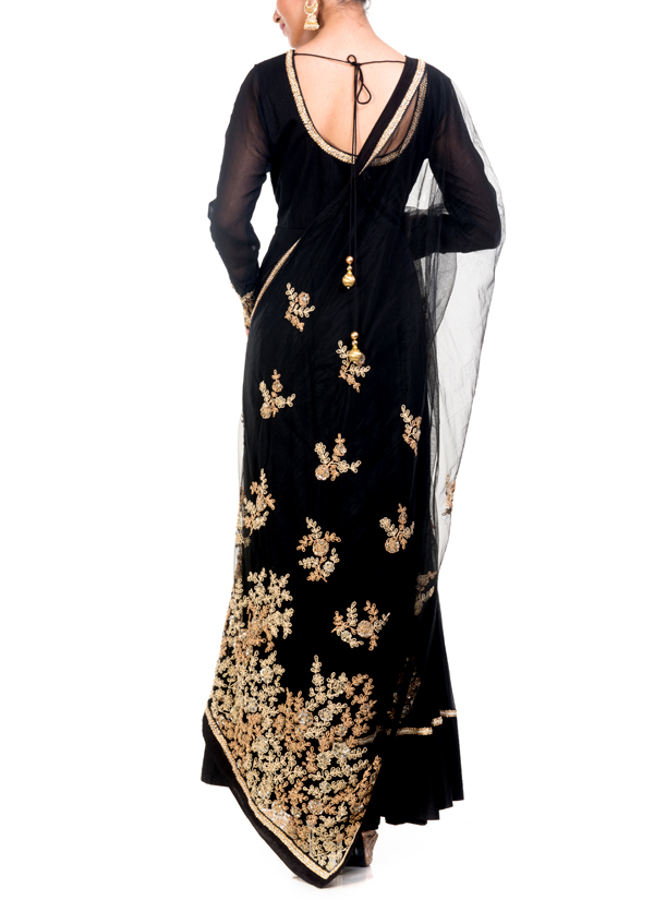 747be242864 ... Indian Fashion Designers - Anju Agarwal - Contemporary Indian Designer  - Embellished Black Anarkali Suit ...