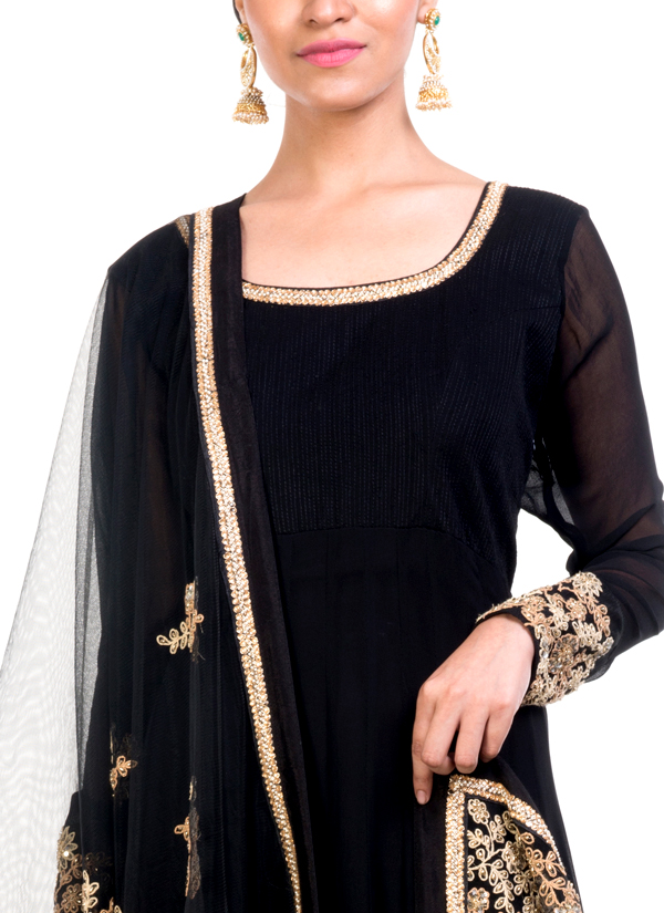 64b5facb3cc ... Indian Fashion Designers - Anju Agarwal - Contemporary Indian Designer  - Embellished Black Anarkali Suit -