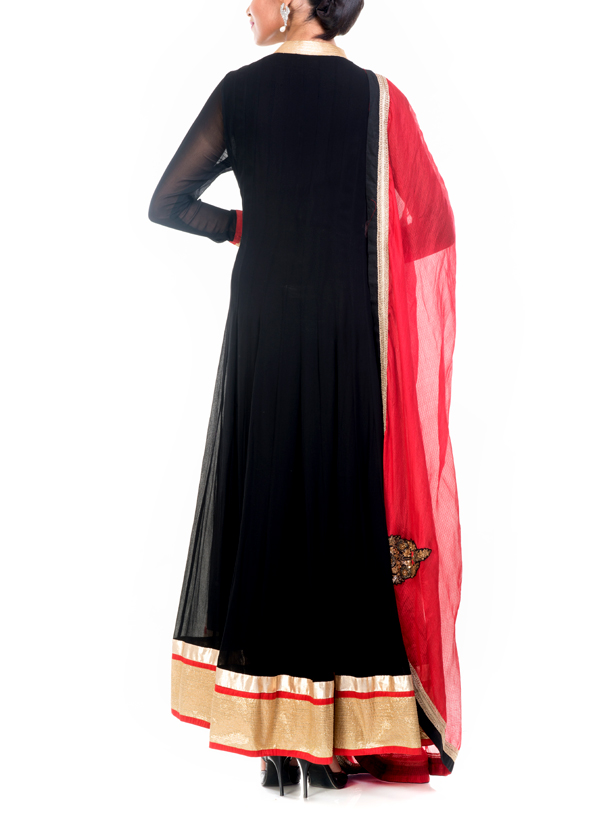 8ddfc98079d ... Indian Fashion Designers - Anju Agarwal - Contemporary Indian Designer  - Zardosi Black Anarkali Suit ...