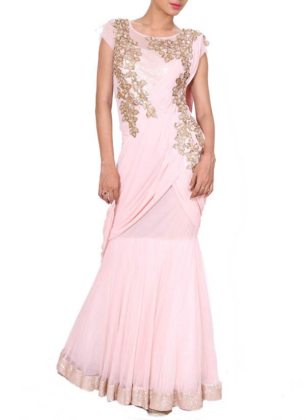 Anju Agarwal | Blush Pink Draped Gown Saree | Shop Sarees at ...