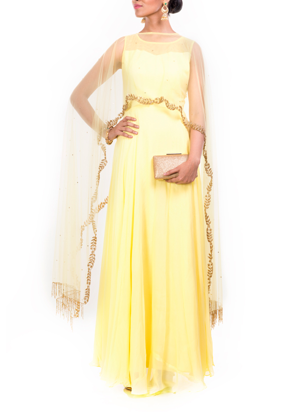 Anju Agarwal | Embroidered Bright Yellow Long Cape Gown | Shop Gowns ...