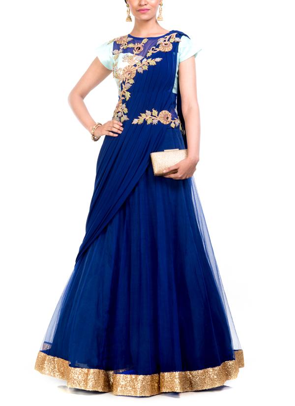 Anju Agarwal   Embroidered Midnight Blue Gown Saree   Shop Sarees at ...