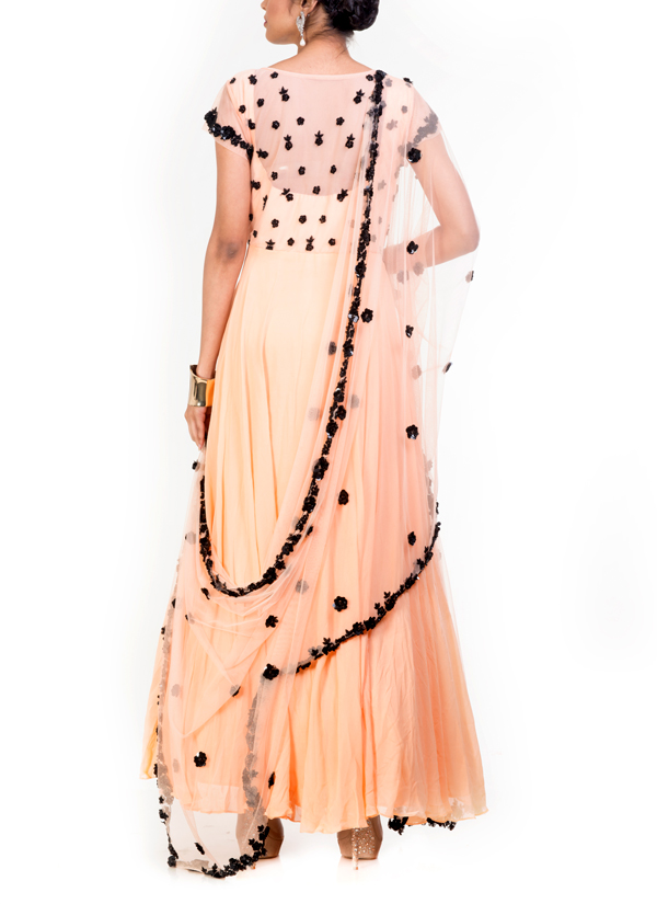 af61a7128b3 ... Indian Fashion Designers - Anju Agarwal - Contemporary Indian Designer  - Embroidered Moccasin Pearl Suit ...