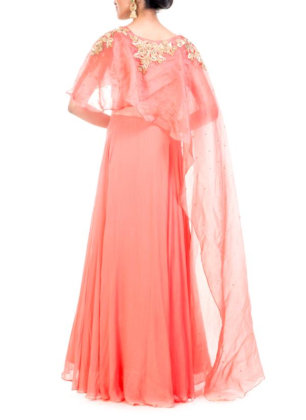 Anju Agarwal Organza Salmon Long Cape Gown Shop Gowns