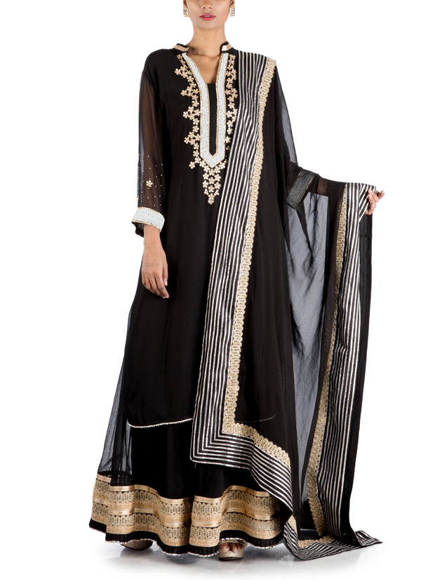 8ff56c7dae2 Indian Fashion Designers - Anju Agarwal - Contemporary Indian Designer -  Black Long Sharara - ANJA