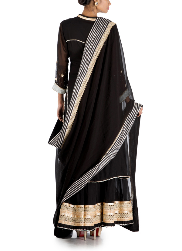 74277889f67 ... Indian Fashion Designers - Anju Agarwal - Contemporary Indian Designer  - Black Long Sharara - ANJA ...