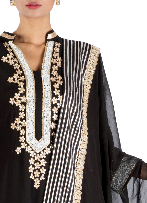 2796be20f63 ... Indian Fashion Designers - Anju Agarwal - Contemporary Indian Designer  - Black Long Sharara - ANJA