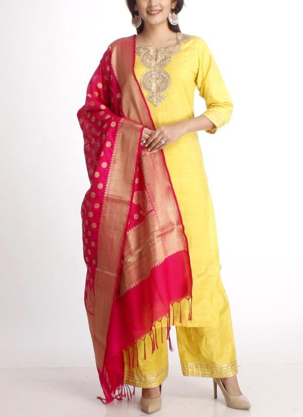 fe21e7051e Indian Fashion Designers - Anokherang - Contemporary Indian Designer - Lime  Green Gold Sraight Salwar Suit