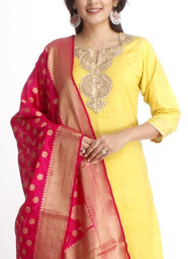 50844223d5 ... Indian Fashion Designers - Anokherang - Contemporary Indian Designer - Lime  Green Gold Sraight Salwar Suit