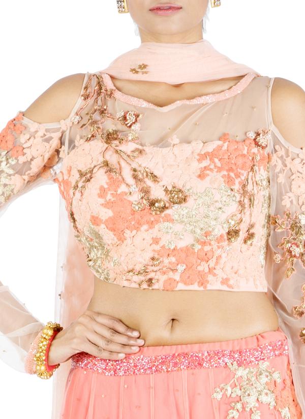 0f89cee8552a0e ... Indian Fashion Designers - Anushree Agarwal - Contemporary Indian  Designer - Cold Shoulder Peach Lehenga -