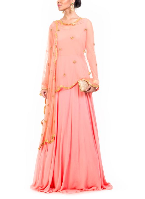 Anushree Agarwal Peach Cape Salwar Suit Shop Salwars