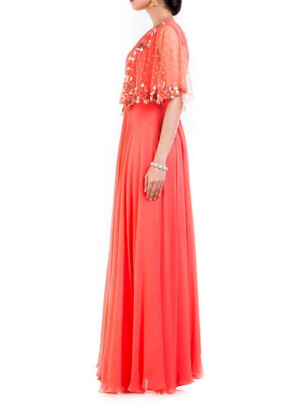 Anushree Agarwal Peach Coloured Dress With Half Cape
