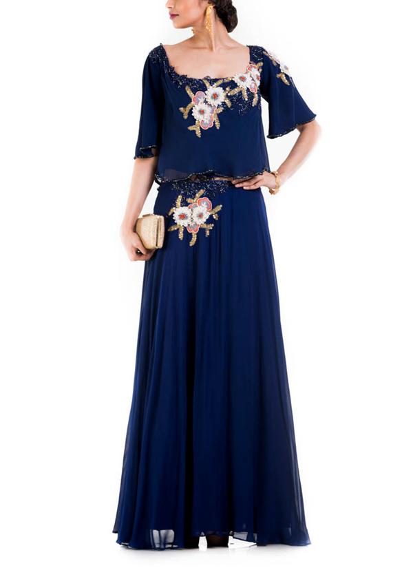 anushree agarwal indigo blue dress with kimono sleeves
