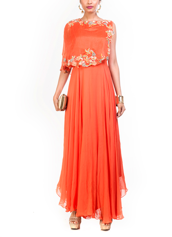 Anushree Agarwal Tangerine Cape Dress Shop Dresses At