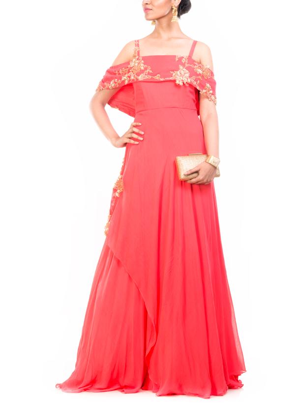 Anushree Agarwal | Peach Off Shoulder Cape Gown | Shop Gowns at ...