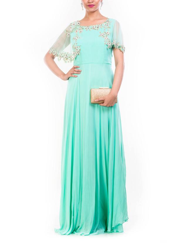 Anushree Agarwal | Aquamarine Cape Style Gown | Shop Gowns at ...