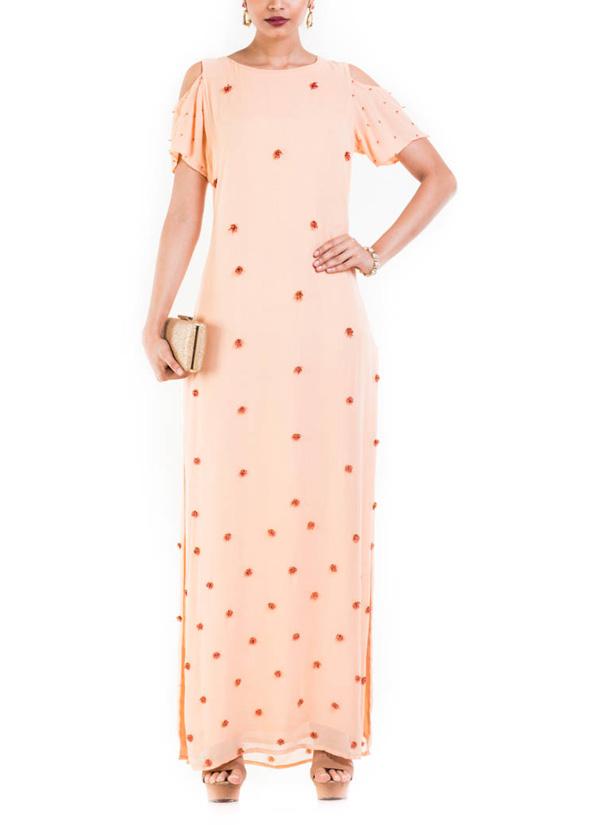 32faf6933040 Indian Fashion Designers - Anushree Agarwal - Contemporary Indian Designer  - Light Peach Long Maxi Dress