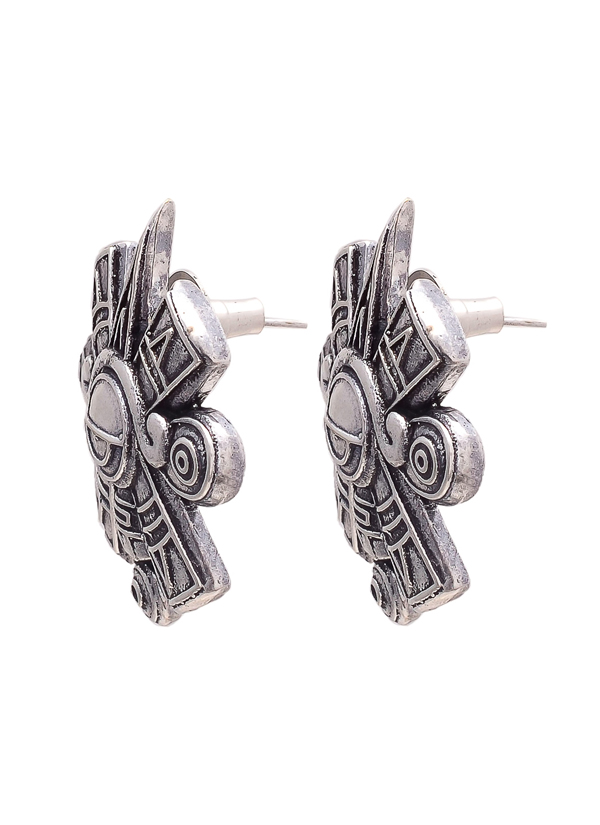 Indian Fashion Designers Ayushi Mittal Contemporary Designer Silver Aztec Inspired Studs