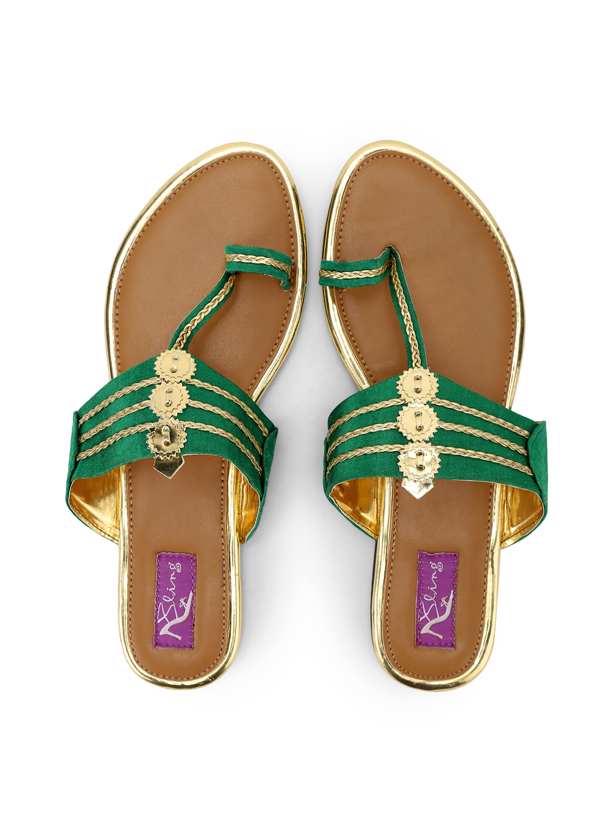39fcd39ee0b4 Indian Fashion Designers - Bling Footwear - Contemporary Indian Designer -  Green Kolhapuri Flats - BLF