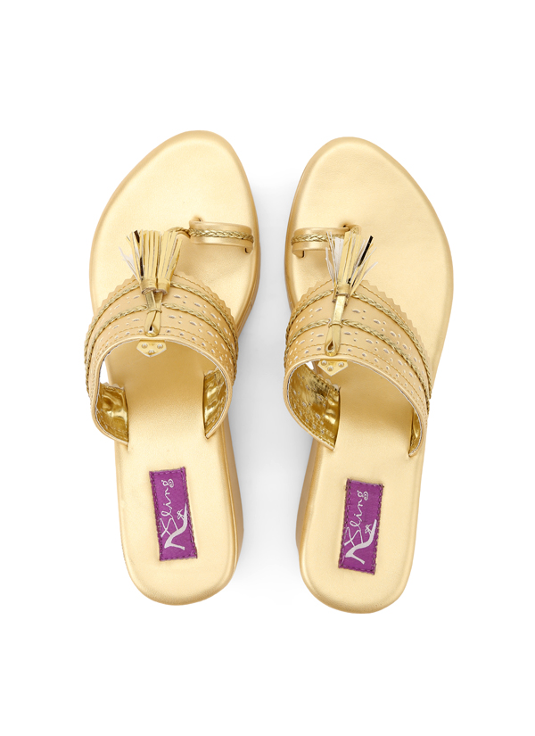 3a092d8c689f Indian Fashion Designers - Bling Footwear - Contemporary Indian Designer - Gold  Kolhapuri - BLF-
