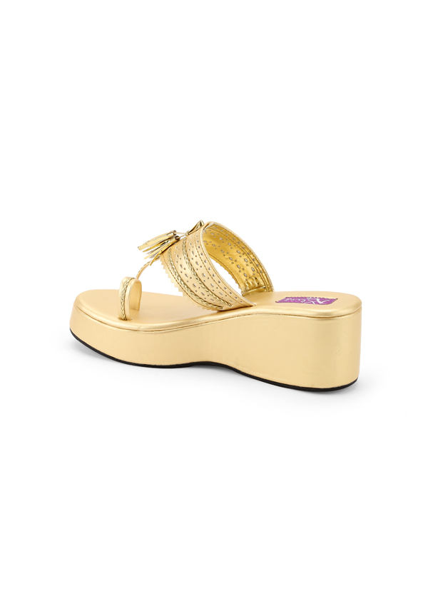 d66f0fe29503 ... Indian Fashion Designers - Bling Footwear - Contemporary Indian Designer  - Gold Kolhapuri - BLF- ...