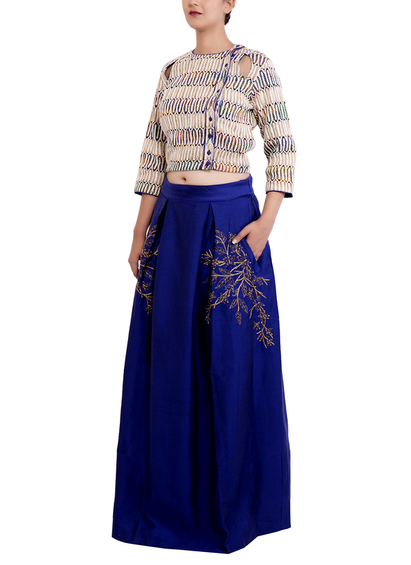 Indian Fashion Designers   Chrkha   Contemporary Indian Designer   Crop  Top with Skirt   DMC. Chrkha   Crop Top with Skirt at strandofsilk com