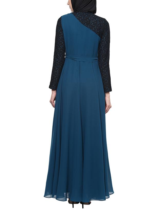 House of Zeniaa By Esha Gupta | Blue Evening Gown Embellished Abaya ...