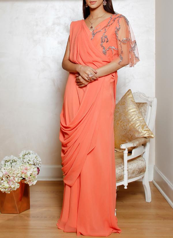 Jasmine Bains | Orange Silk Georgette Embellished Gown | Shop Gowns ...