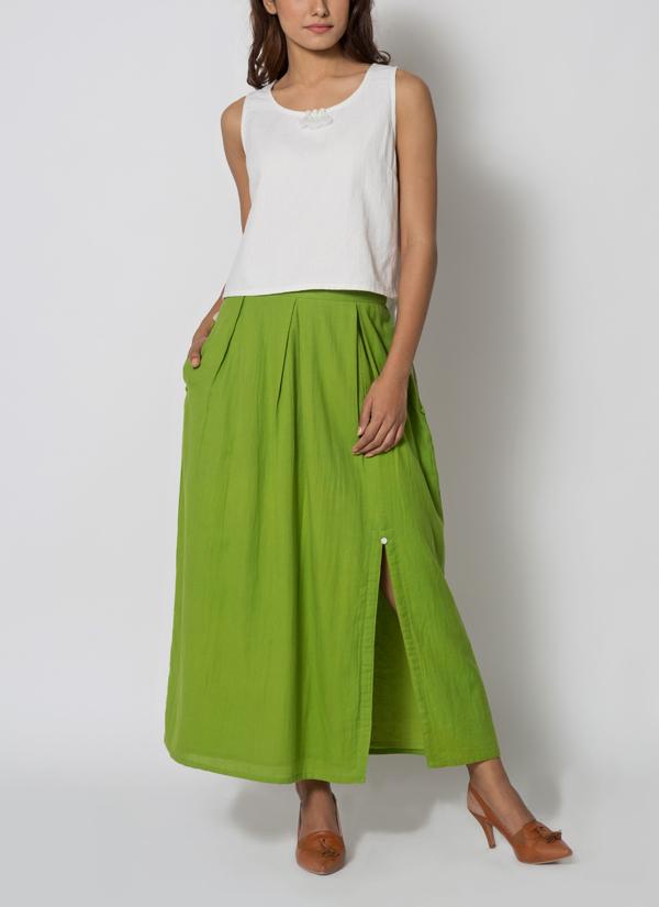 82edcaabcf Indian Fashion Designers - Jayati Goenka - Contemporary Indian Designer -  White Crop Top Set -