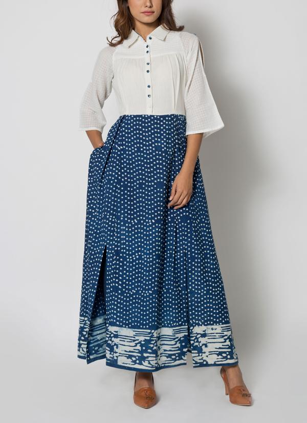 3dbd0e90e21 Indian Fashion Designers - Jayati Goenka - Contemporary Indian Designer -  Indigo Cold Shoulder Maxi Dress
