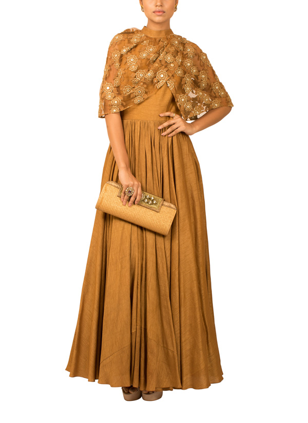 d117c52e9976 Indian Fashion Designers - Kakandora - Contemporary Indian Designer - Brown  Long Flared Gown - KAK