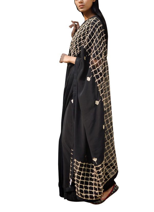 b17832fc638583 Indian Fashion Designers - Kanelle - Contemporary Indian Designer - Black Embroidered  Zari Saree - KAN