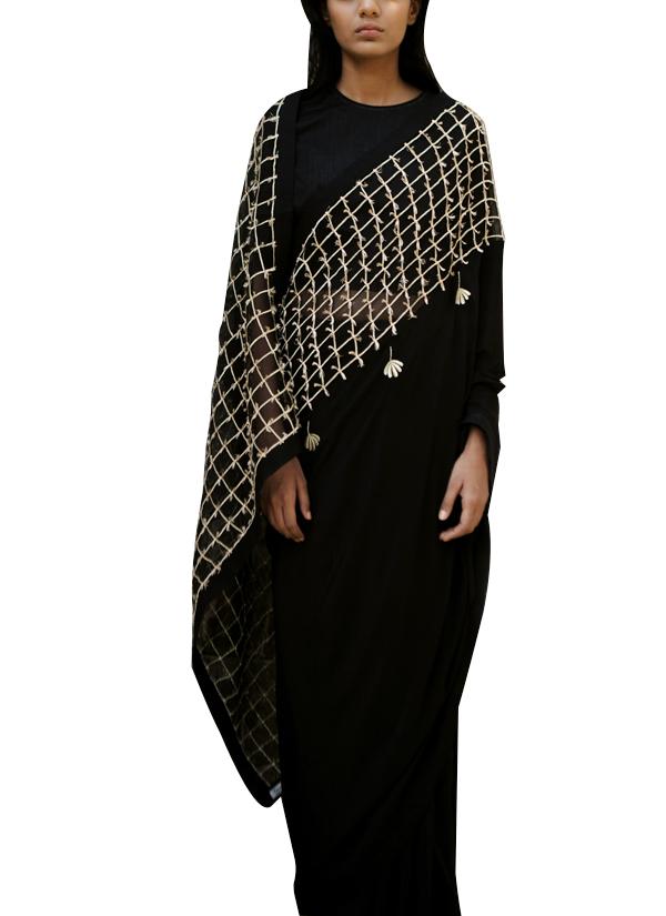 3eb6c318eb2689 ... Indian Fashion Designers - Kanelle - Contemporary Indian Designer -  Black Embroidered Zari Saree - KAN ...