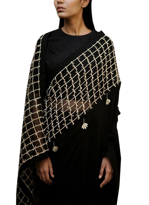 e7d1e4543e93aa ... Indian Fashion Designers - Kanelle - Contemporary Indian Designer -  Black Embroidered Zari Saree - KAN