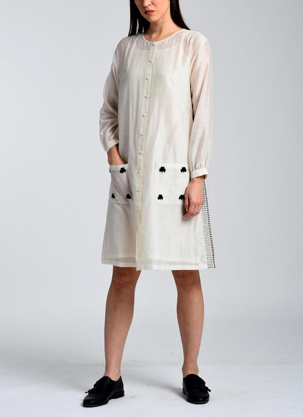 53bae7400382 Indian Fashion Designers - Kanelle - Contemporary Indian Designer - Front Open  Shirt Dress - KAN