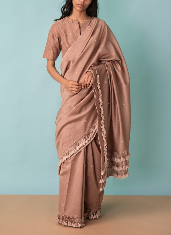 c47473265af05d Indian Fashion Designers - Kanelle - Contemporary Indian Designer -  Tasseled Saree With Hand Embroidery Blouse