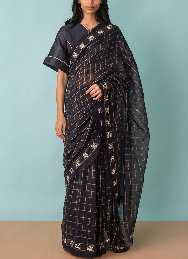 f555c842b540fc Indian Fashion Designers - Kanelle - Contemporary Indian Designer - Zari  checkard Saree With Gold Detail
