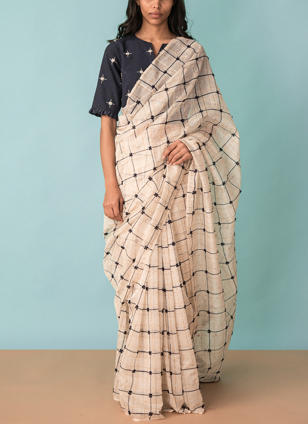 3db26d049f53e2 Indian Fashion Designers - Kanelle - Contemporary Indian Designer - Zari  Checkard Saree With Hand Embroidered