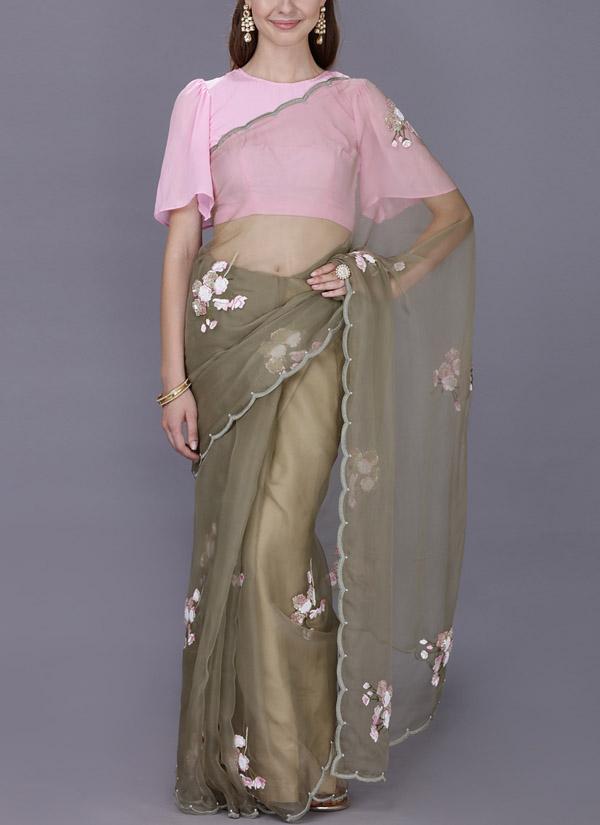 2447a5c679 ... Indian Fashion Designers - Kyra - Contemporary Indian Designer -  Victorian Charm Saree - KYA- ...