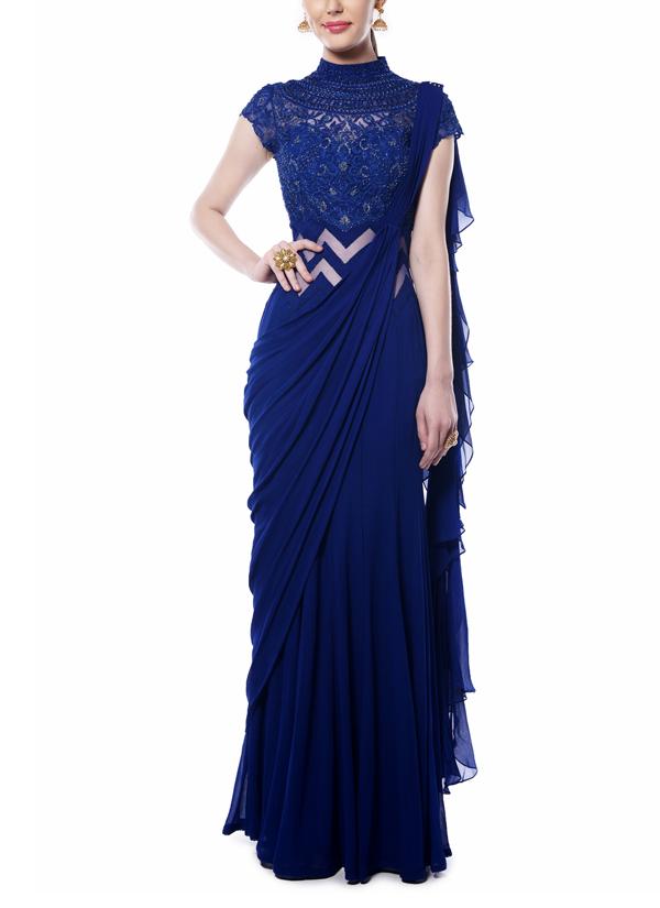 9e425b2547 Indian Fashion Designers - Mandira Wirk - Contemporary Indian Designer -  Indigo Blue Drape Saree -