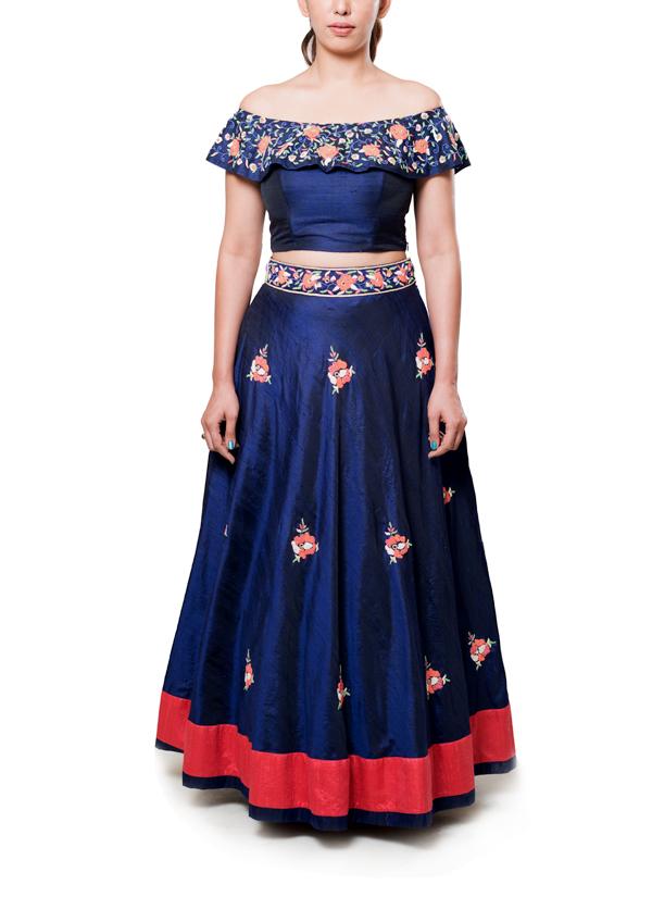 Neha Gursahani Navy Blue Embroidered Lehenga Shop
