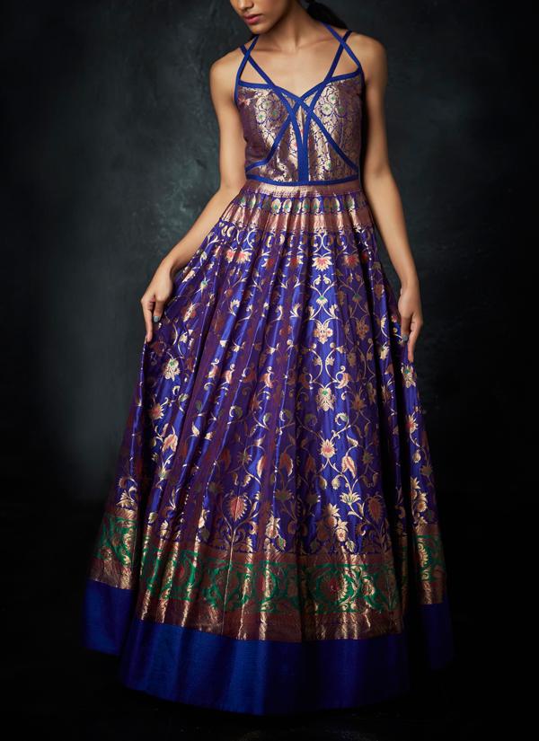 Neha Khanna Royal Blue Sangeet Gown Shop Gowns At Strandofsilkcom