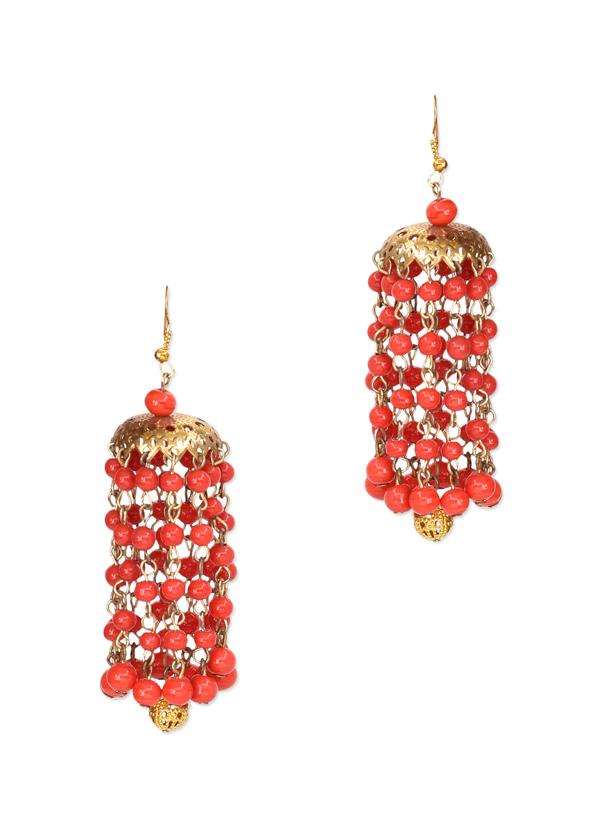 Paisley Pop | Arbaan Coral Kaleera Jhumka | Shop Earrings at ...