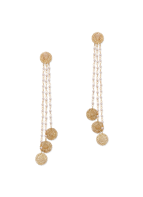 Indian Fashion Designers Paisley Pop Contemporary Designer Sierra Filigree Long Earrings