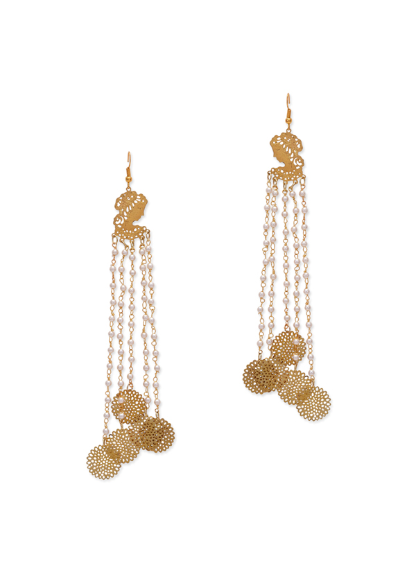 Indian Fashion Designers Paisley Pop Contemporary Designer Zoya Filigree Long Earrings