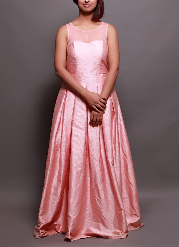 Prisha by Shivesh | Berry Pink Pleated Gown | Shop Gowns at ...