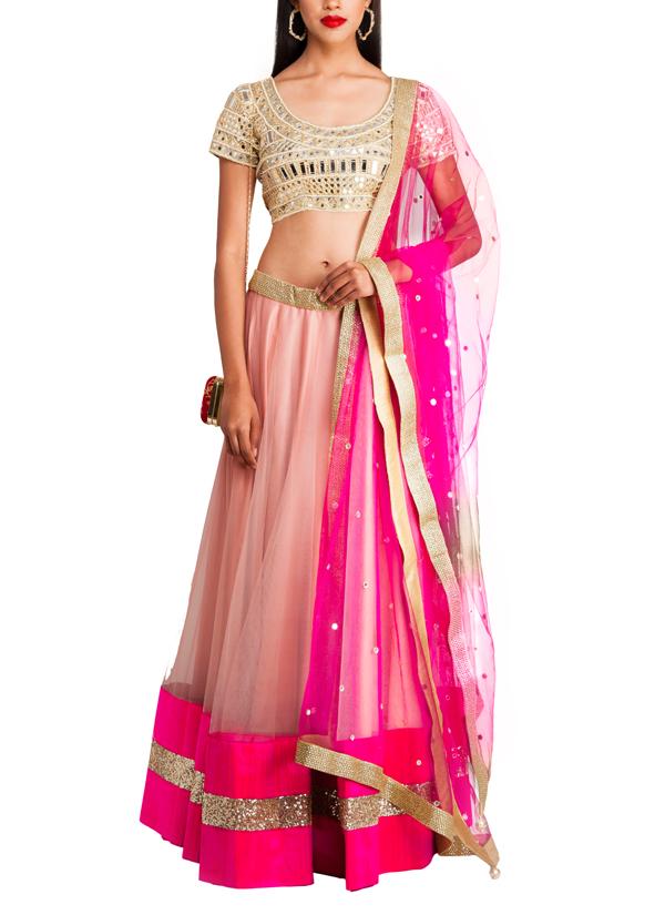 Priti Sahni  Nude And Pink Coloured Net Lehenga  Shop -6041