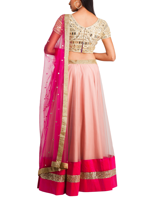 Priti Sahni  Nude And Pink Coloured Net Lehenga  Shop -3252