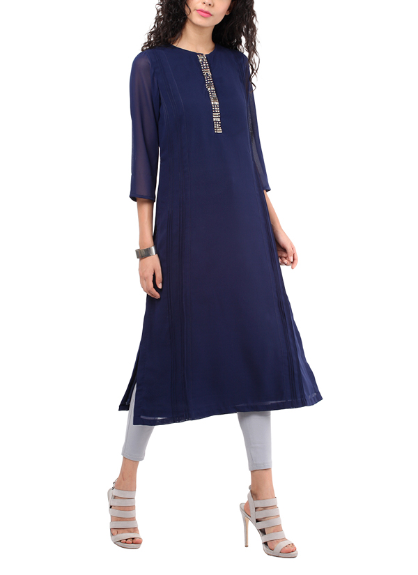 9a79d52231 ... Indian Fashion Designers - Red Couture - Contemporary Indian Designer -  Georgette Navy Blue Tunic ...